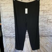 EILEEN FISHER NWT Plus Sz 20W Wide-Leg Silk Georgette Pants Black $268 - $79.15