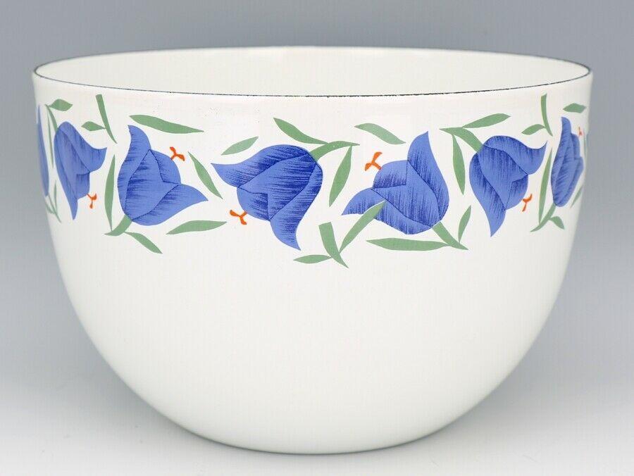"""Vintage Arabia Finland Blue Bell Enamelware 8 3/8"""" Mixing Bowl MINT, Unused"""