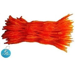 Caryko Fuzzy Bump Chenille Stems Pipe Cleaners Pack of 100 Orange  - $10.63
