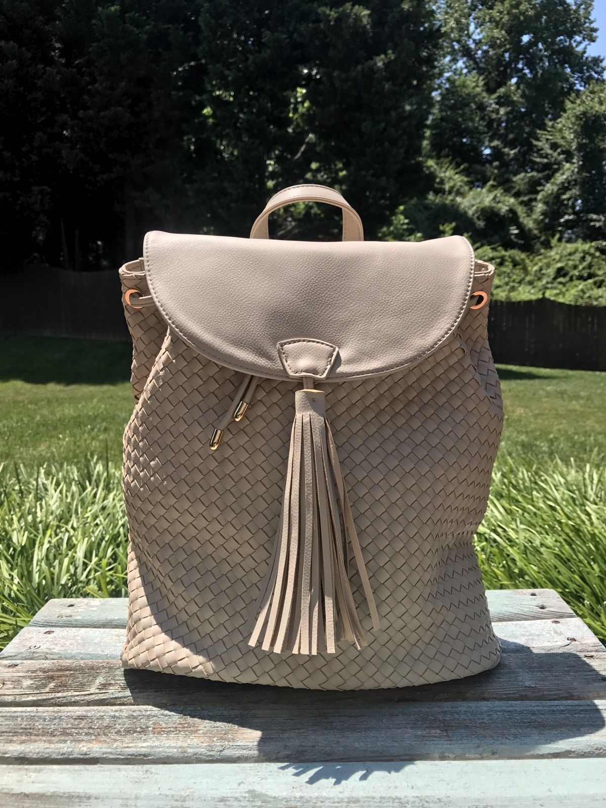 Deux Lux Luxury Bowery Backpack Camel/Off-White/Cream $130 NEW with tags NWT