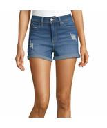 Ymi Women's Juniors High Waisted Denim Shorts Size 11 Medium Wash Cuffed... - $23.25