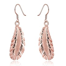 Women Feather Earring 18K Rose Gold Filled Jewelry Fashion Drop Dangle - $11.75