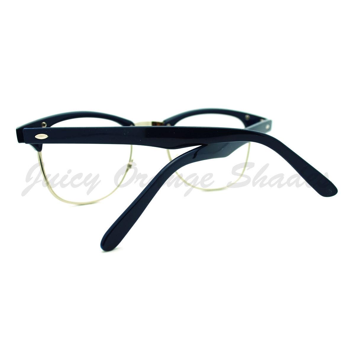 Truly Vintage Clear Lens Glasses Round Half Horn Rim Eyeglasses
