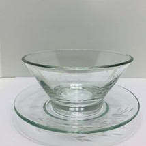 Vintage Princess House Heritage 429 Mayonnaise Bowl & Underplate with Floral Cut - $23.38