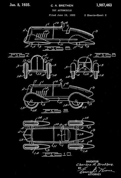 Primary image for 1935 - Toy Automobile - C. A. Brethen - Wyandotte - Patent Art Poster
