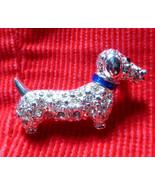 Vintage Pin WIENER DOG Brooch Rhinestone  DACHSHUND Silver Tone Puppy Pu... - $9.89