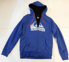 Quiksilver Blue Zip Front Sherpa Hoodie Size Medium BNWT - $64.99