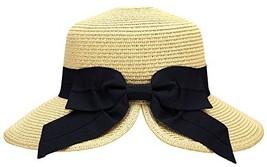 AbbyLexi Women's Pretty Vintage Foldable Sun Visor Straw Hat w/Bow, Beige - $21.07