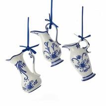 Kurt Adler Set Of 3 Hand Painted Porcelain Delft Blue Pot Jug Xmas Ornaments - $26.88