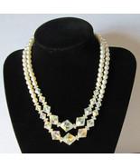 Vintage faux pearl Aurora Borealis Necklace Wedding chic CLASSY    - $35.00