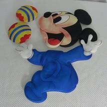 Vtg 80s Disney Babies Mickey Mouse Soft Wall Hanging Blue Nursery Decor - $18.52