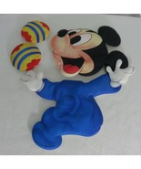 Vtg 80s Disney Babies Mickey Mouse Soft Wall Hanging Blue Nursery Decor - $18.52