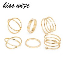 KISSWIFE Hot Unique Ring Set Punk Gold Color Knuckle Rings for women Finger Ring - $9.55