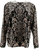 Bob Mackie Moroccan Print Velvet Top Black XL NEW A344691 - $38.59