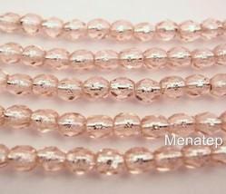 50 4 mm Czech Glass Firepolished Beads: Rosaline - Silver Lined - $2.23