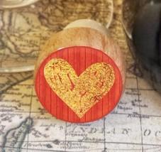 Wine Stopper, Gold Handrawn Heart Handmade Wood Bottle Stopper, Valentin... - $8.86
