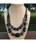 Speckled Black Beads Necklace - $14.75