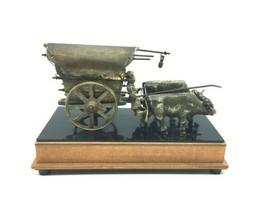 Vintage Wood Metal Wagon Wind Up Music Lullaby Jewelry Stash Box Western Decor image 1