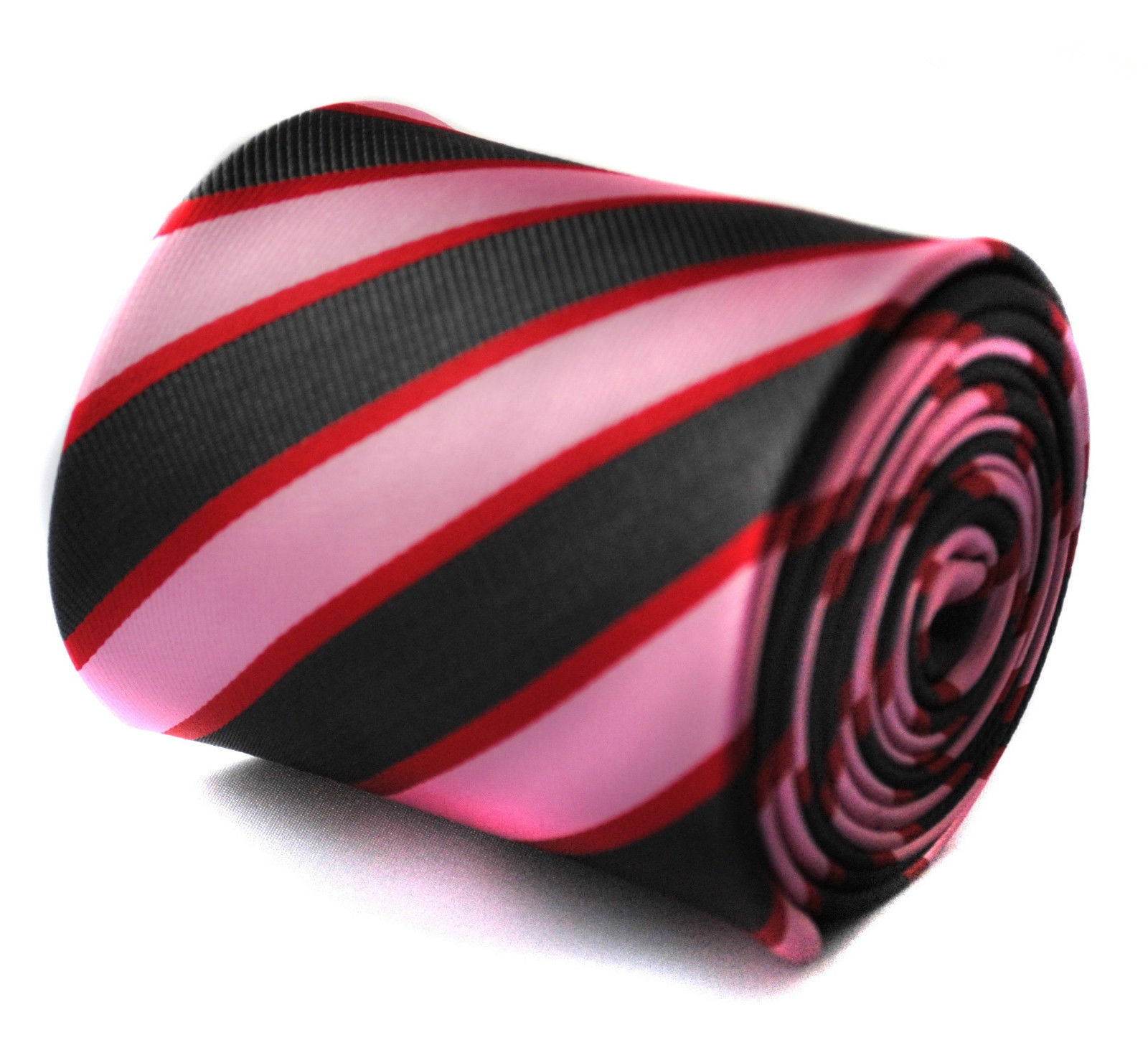 Pink Red and Black Striped Mens Tie by Frederick Thomas FT718