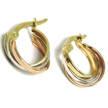 Earrings Circle White Gold, Pink and Yellow 750 18K, Rod Squared, Mini 1 CM image 1