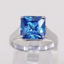 Sz 8, Sterling Silver Ring, 925 Silver Engagement Ring W/ blue Swarovski... - $20.45