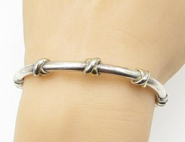 925 Sterling Silver - Petite String Wrap Detail Hinged Bangle Bracelet -... - $46.71