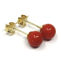 18K YELLOW GOLD BALLS SPHERES RED CORAL BUTTON EARRINGS, 6 MM, 0.24 INCHES image 2