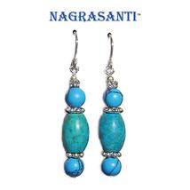 Nagrasanti SS Turquoise Bead Triplet Dangle Earrings - €20,39 EUR