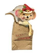 "Vintage Christmas Ornament Velvet Figurine Mouse In Paper Bag 5 1/2"" tal... - $24.70"