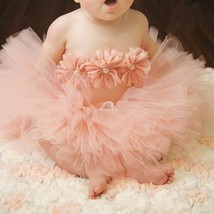 Newborn baby girls peach colored tutu 3pc set 1st picture outfit photo p... - $10.99