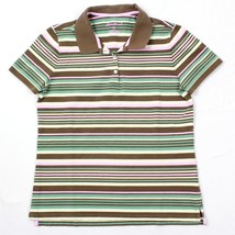 Eddie Bauer Women's Polo Shirt Size Medium Striped Cotton Knit Top Casua... - $11.18