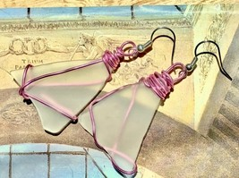 White Sea Glass Frosted Translucent Triangular Piece Pink Wire Wrapped Earrings  - $12.00