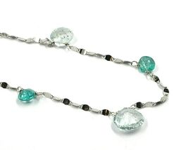 18K WHITE GOLD NECKLACE DROP FACETED GREEN & BLUE ALTERNATE AQUAMARINE, CHAIN image 3