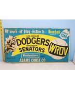 1950's Los Angeles Dodgers v Wash Senators Sign Budweiser & WROV 1240 Ra... - $594.00
