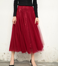 Wine Red Long Tulle Sequin Skirt High Waisted Red Christmas Holiday Skirt Outfit image 2