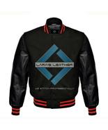 Black Varsity Baseball Genuine Leather Sleeve Letterman College  Men Woo... - $74.00