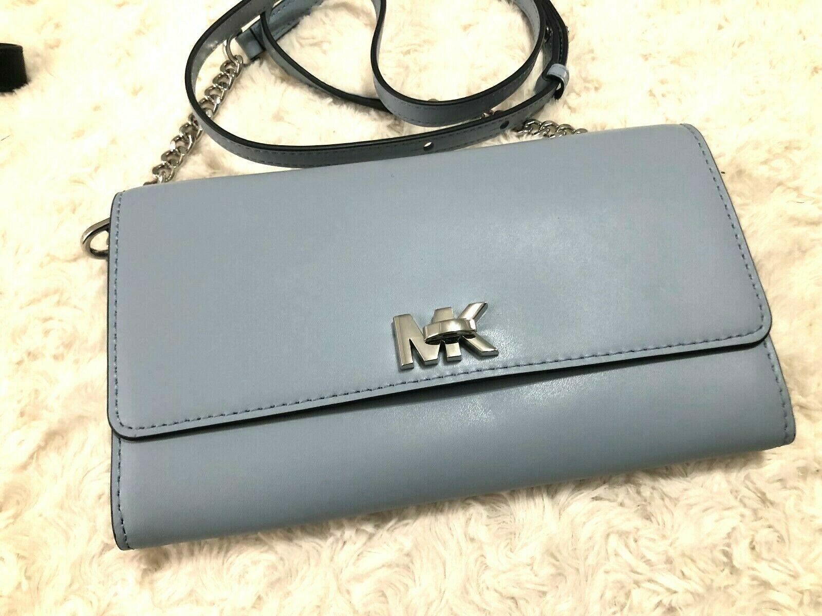 Michael Kors Mott XL Wallet on a Chain Crossbody Clutch Bag Pale Blue Msrp 178