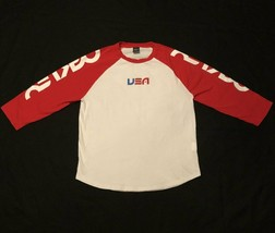 Oakley USA T shirt Color Block Shirt Red and White Size Medium - £15.63 GBP