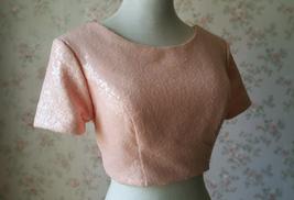 Gold BLUSH SEQUIN TOPS Short Sleeve Sequin Crop Tops Wedding Bridesmaid Top Plus image 5