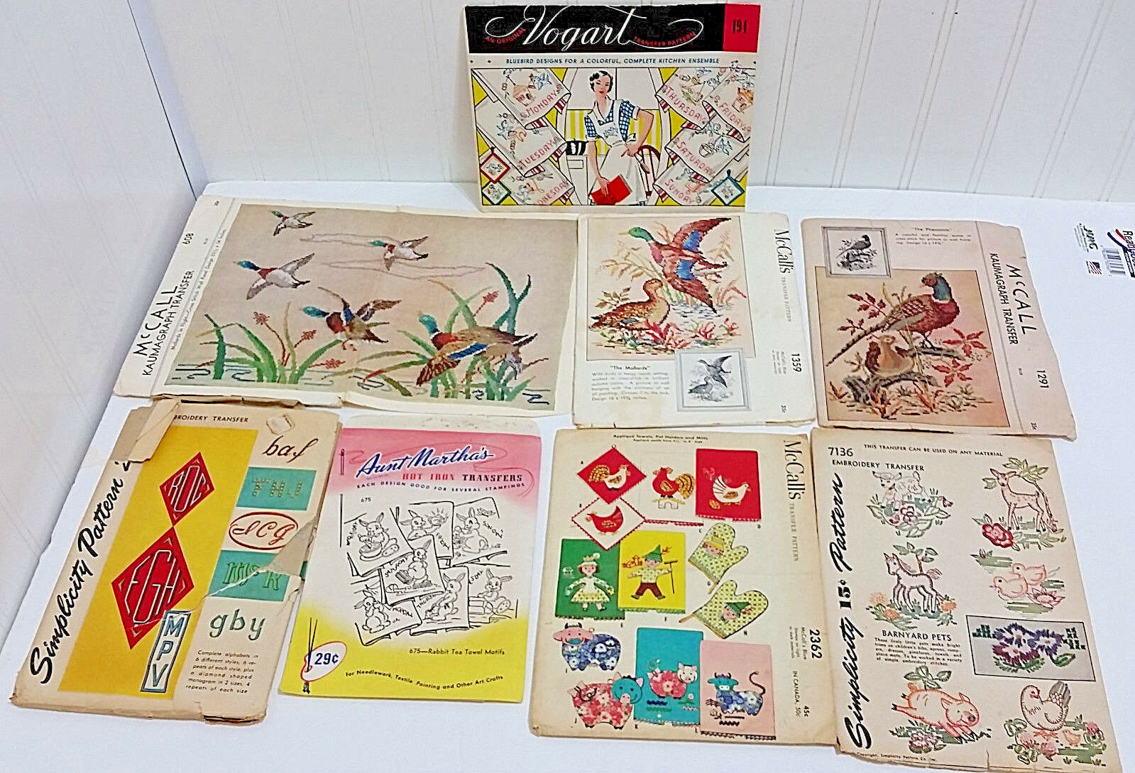 Primary image for 8 Vtg Transfer Patterns McCalls Simplicity Etc Birds Ducks Bunnies Letters Lot