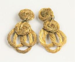 ESTATE Jewelry VINTAGE GOLD METAL WIRE DANGLE EARRINGS - $10.00