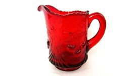 Vintage Fenton L G Wright Ruby Red Cherry Wreath Creamer Cream Pitcher Euc - $28.71