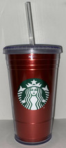 STARBUCKS Red Metallic Acrylic Travel Tumbler 16 OZ Double Wall Cold Cup... - $15.83