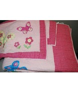 THE COMPANY STORE Girls Pink Butterflies Bed QUILT Full/Queen Cotton But... - $148.40