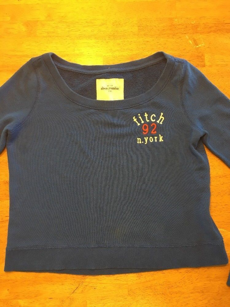 Abercrombie Kid's Girl's Royal Blue Scoop Neck Sweatshirt - Size: XL