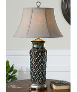 VINTAGE MODERN EMBOSSED BLUE GLAZED ANTIQUED SILVER TABLE LAMP   - $162.80