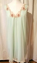 1960's Kayser Baby Blue Chiffon Double Layer Nightgown 100% Nylon Med Vi... - $32.62