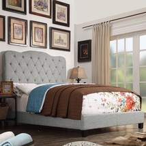 Twin Full Queen King Gray Upholstered Platform Bed Frame Tufted Fabric B... - $211.76+