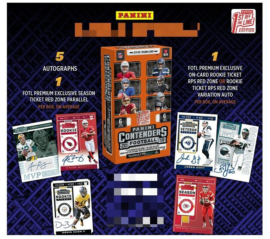 Primary image for 2019 Panini Contenders Football Hobby Box First Off the Line Premium - 5 Autos