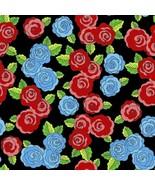 "David Textiles Frida's Roses Black 100% cotton Fabric Remnant 22"" - $5.87"